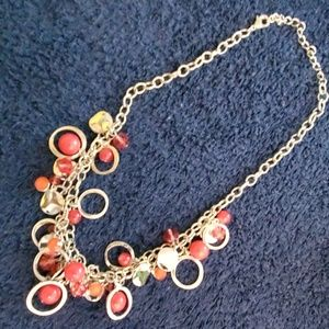 Deep coral and red beaded necklace